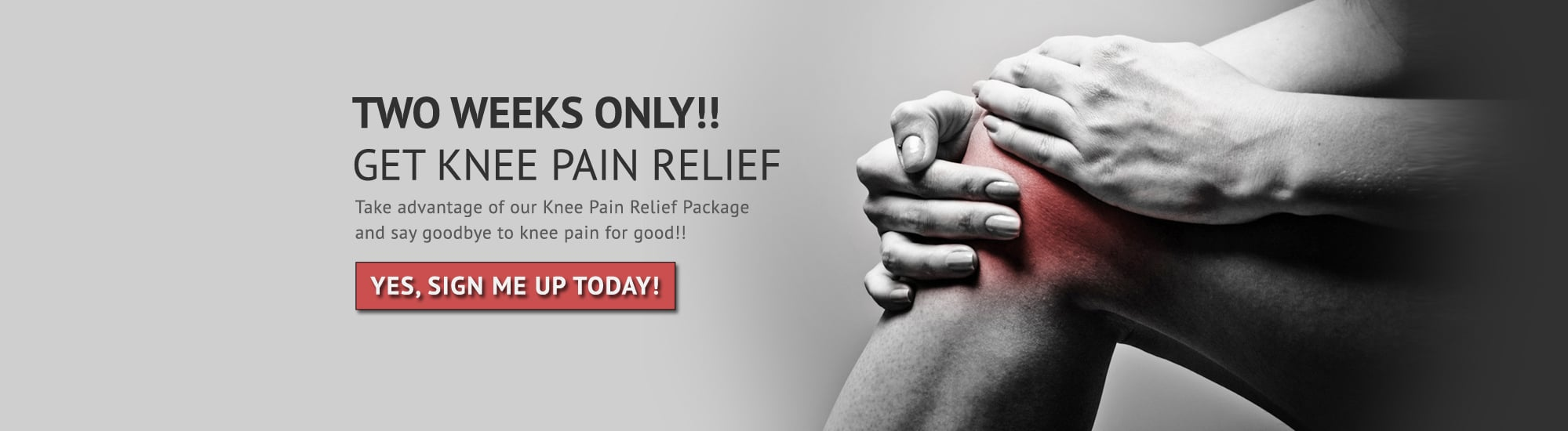 knee pain relief landing page slider